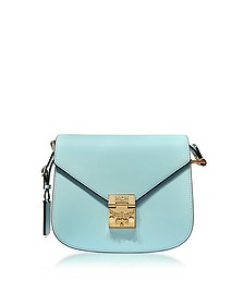 Patricia Liquid Blue Leather Small Shoulder Bag - MCM