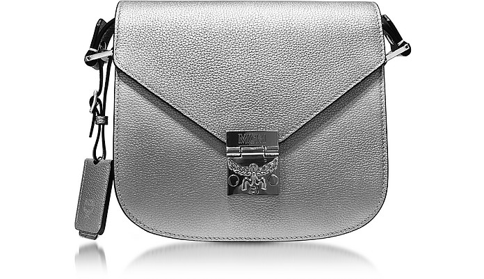 Patricia Park Avenue Spike Silver Leather Small Shoulder Bag - MCM