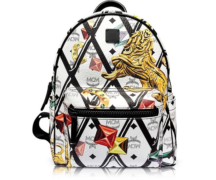 White Stark Motif Rombi Small Backpack - MCM