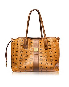 Bolso Project Visetos Liz Mediana Cognac Reversible - MCM