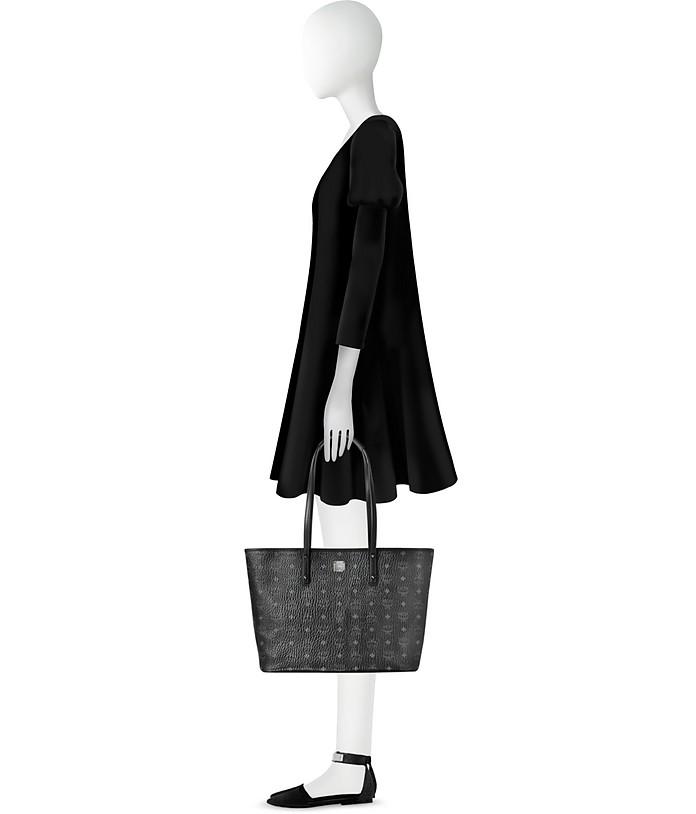 Anya Top Zip Medium Shopper Nera con Logo MCM W873f