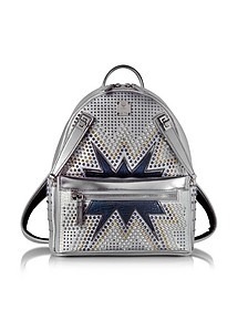 White Flake Small Dual Stark Cyber Studs Backpack - MCM