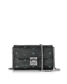 Millie Visetos Black Coated Canvas Medium Flap Crossbody - MCM