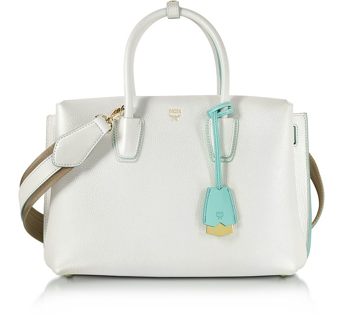 White Flake Leather Milla Medium Tote Bag - MCM