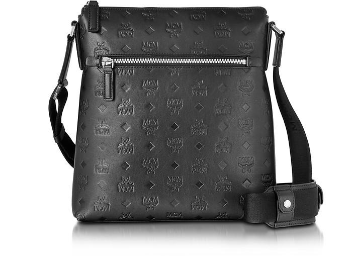 f3c739370e MCM Ottomar Black Monogram Leather Small Messenger Bag at FORZIERI