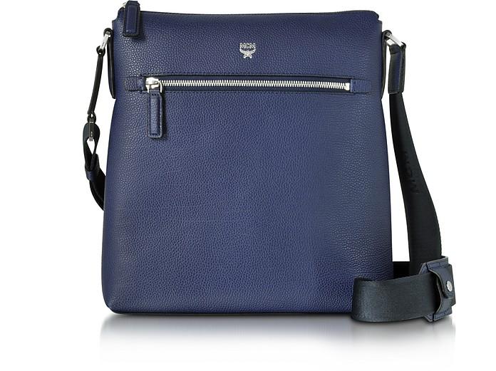 Ottomar Pistol Blue Grain Leather Small Messenger Bag - MCM