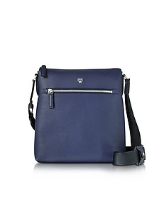 Ottomar Pistol Blue Grain Leather Small Messenger Bag - MCM