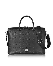 Ottomar Black Monogram Leather Medium Briefcase - MCM