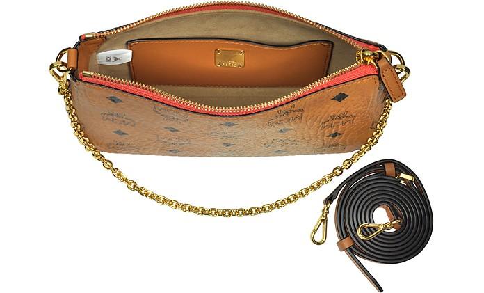Millie Visetos Cognac Medium Zip Crossbody Bag