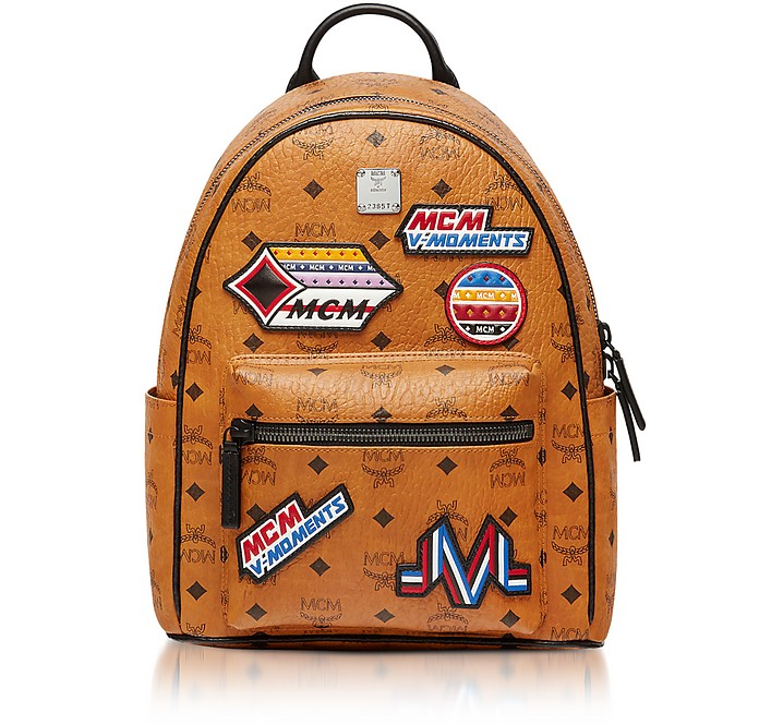 mcm small cognac victory patch visetos stark backpack at forzieri