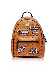 Small Cognac Victory Patch Visetos Stark Backpack - MCM