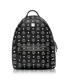 Black Medium White Logo Visetos Stark Backpack  - MCM