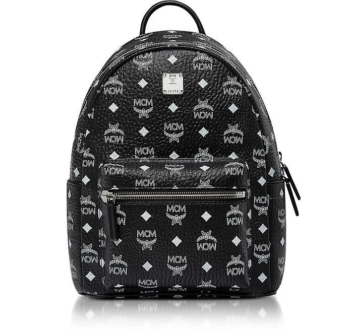 Stark Small Backpack in Black Logo Visetos MCM VZAJk