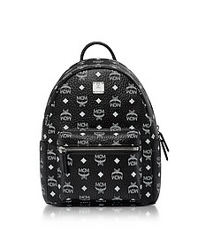 Small Black and White Logo Visetos Stark Backpack - MCM