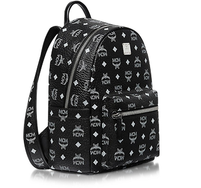 mcm small black and white logo visetos stark backpack at forzieri