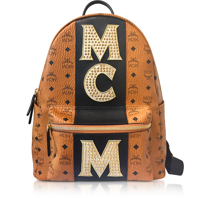 Medium Logo Visetos Stark Backpack Zaino Cognac con Borchie Oro MCM TVWwTxhw