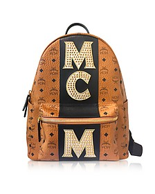 Cognac Stark Stripe Studded Medium Backpack - MCM