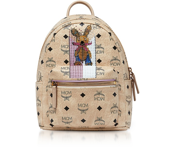 Mini Beige Rabbit Visetos Stark Backpack
