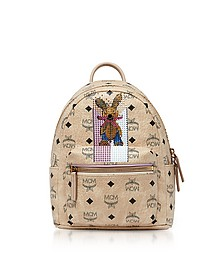 Mini Beige Rabbit Visetos Stark Backpack - MCM