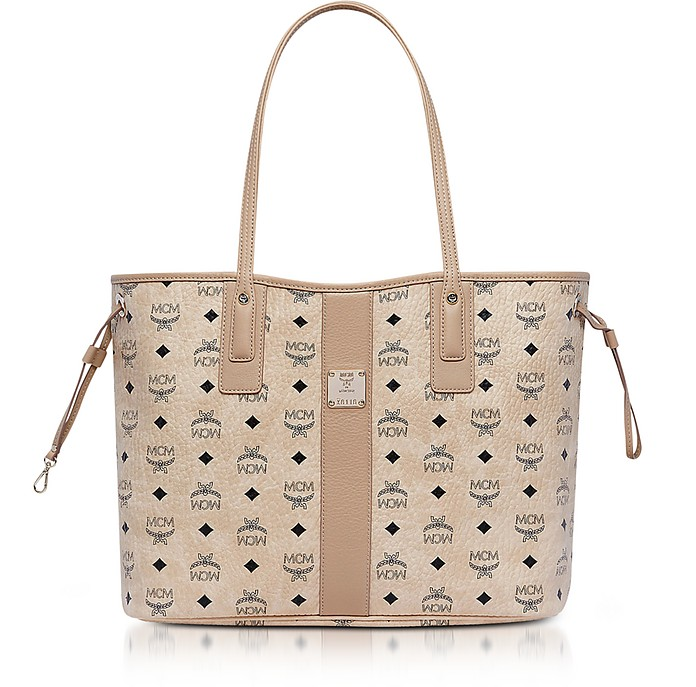 Shopper Project Visetos Liz Medium Shopper Beige Reversibile MCM 4kqbo34zrQ