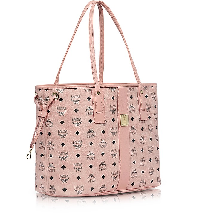 MCM Shopper Project Visetos Soft Pink Medium Reversible Tote