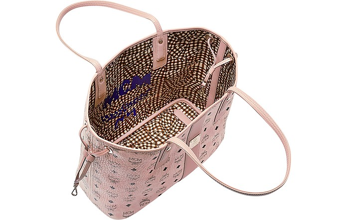 MCM Shopper Project Visetos Soft Pink Medium Reversible Tote