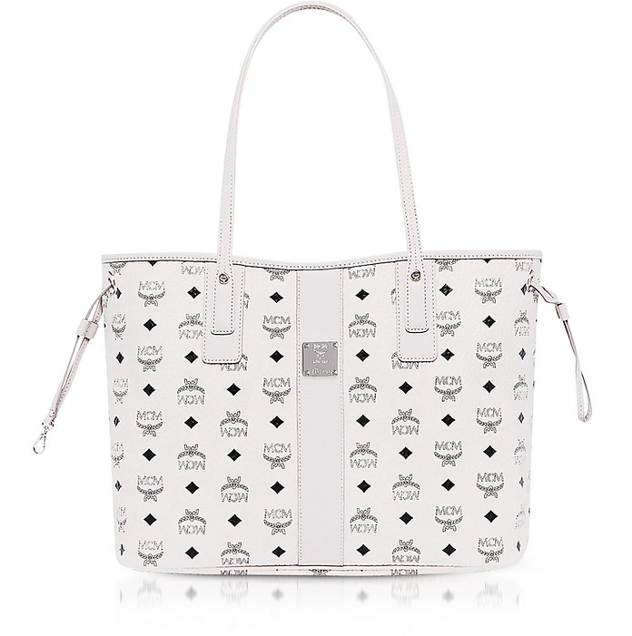 Shopper Project Visetos White Medium Reversible Tote Bag  - MCM