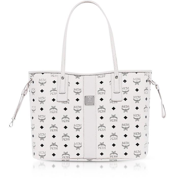 cc7f1bbda772 MCM Shopper Project Visetos White Medium Reversible Tote Bag at ...