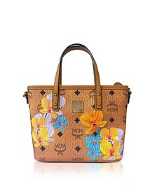Essential Visetos Floral Print Cognac Top Zip Mini Tote Bag - MCM