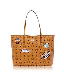 Anya Victory Patch Visetos Cognac Top Zip Medium Tote Bag - MCM