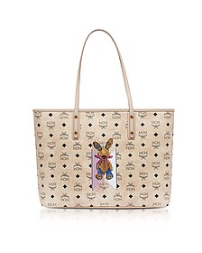 Visetos Studded Rabbit Beige Top Zip Medium Tote Bag - MCM