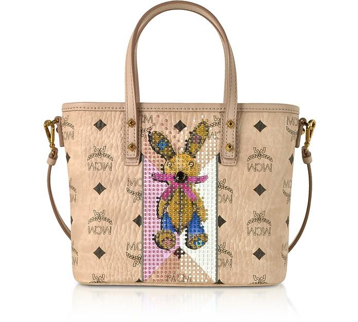Visetos Studded Rabbit Beige Top Zip Mini Tote Bag MCM g0w6qG