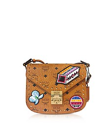 Patricia Victory Patch Visetos Cognac Small Shoulder Bag - MCM