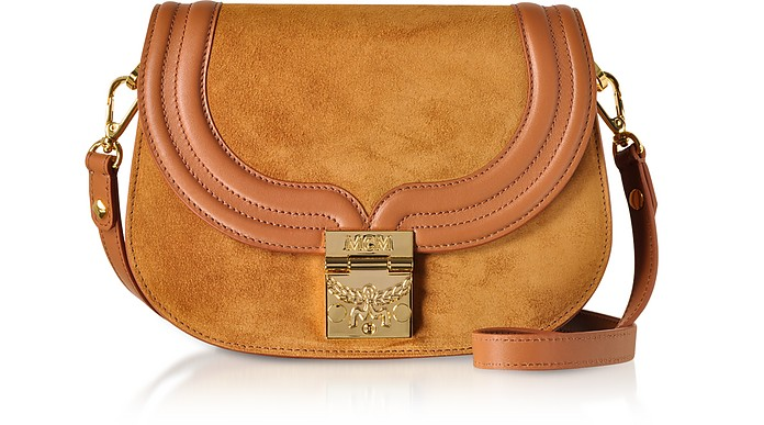 MCM Handbags, Trisha Cognac Suede and Leather Small Shoulder Bag