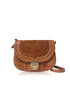 Trisha Cognac Suede and Leather Small Shoulder Bag - MCM