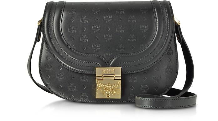 Trisha Black Monogrammed Leather Small Shoulder Bag - MCM