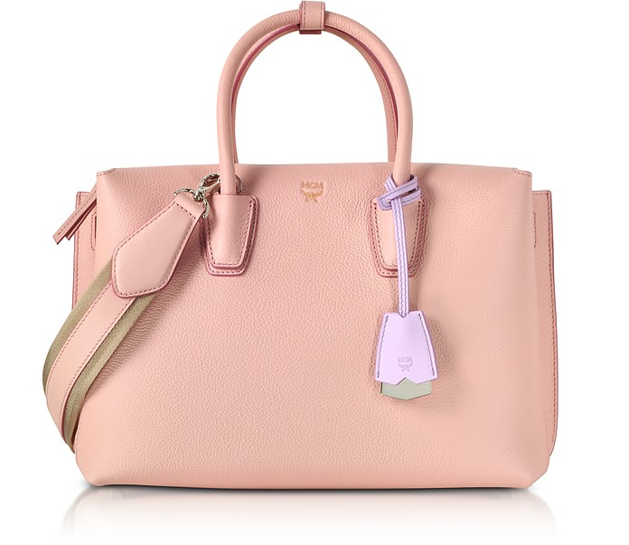 Milla Pink Blush Leather Medium Tote Bag MCM F3kGoWU
