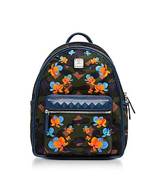 Dieter Loden Green Floral Camo Print Nylon Small Backpack - MCM