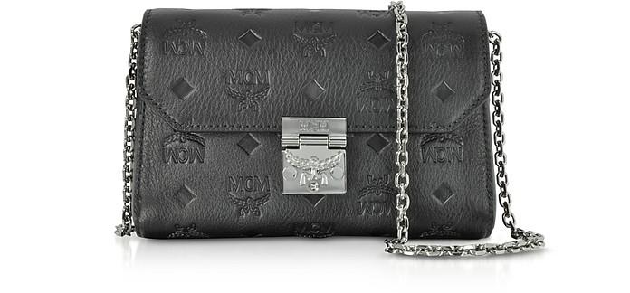 Millie Black Monogrammed Leather Small Flap Crossbody Bag - MCM