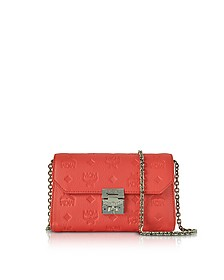 Millie Marigold Orange Monogrammed Leather Small Flap Crossbody Bag - MCM