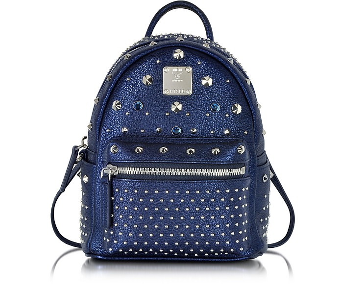 Stark Special Metallic Navy Leather X-Mini Backpack - MCM