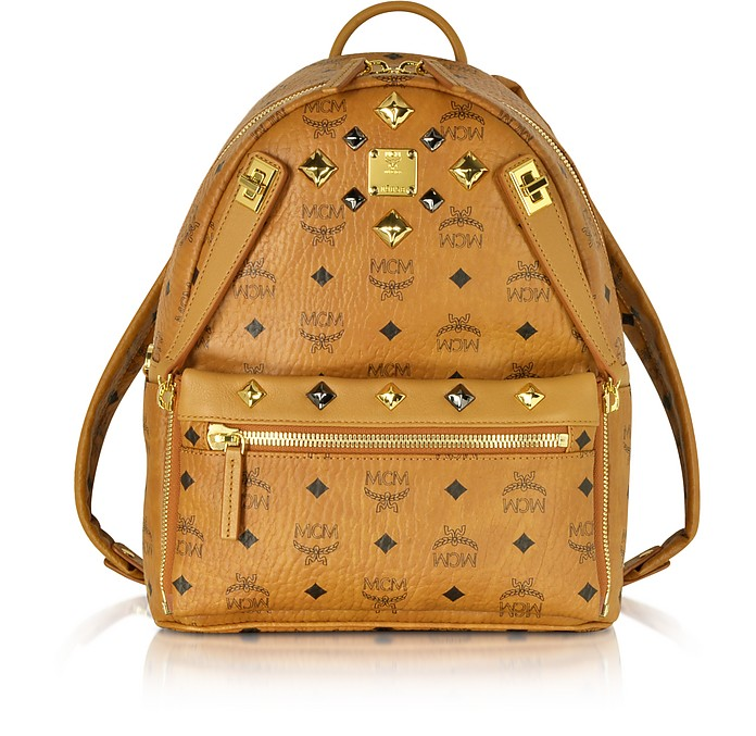Dual Stark Small Visetos Backpack W/ Pouch, Cognac