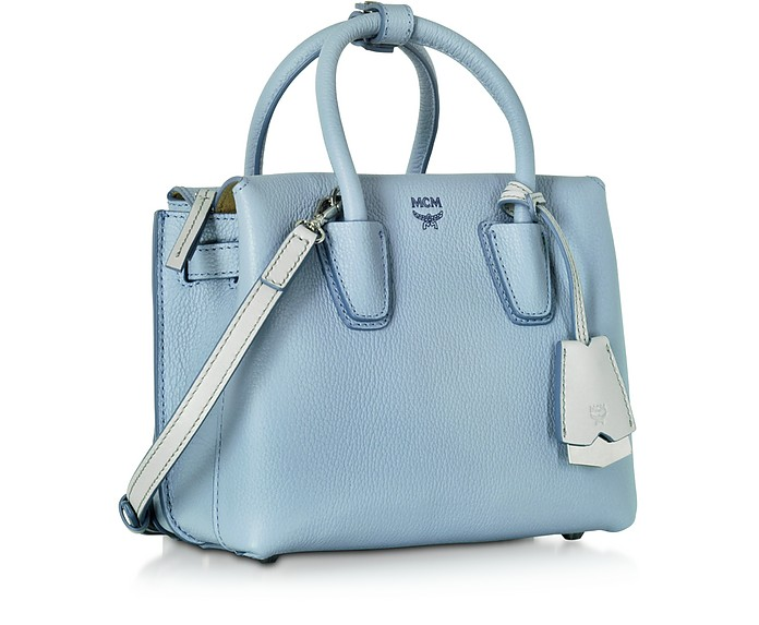 MCM Milla Sky Blue Leather Mini Tote at FORZIERI b88a45f1a12fe