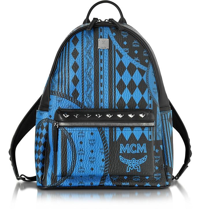 cda7cc124ae MCM Stark Baroque Print Munich Blue Medium Backpack at FORZIERI UK