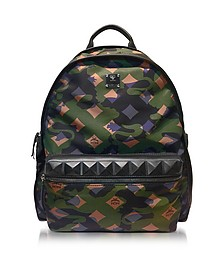 Dieter Camo Nylon Medium Loden Green Backpack - MCM