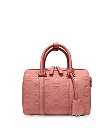 Small Pink Blush Signature Monogrammed Leather Boston Bag - MCM