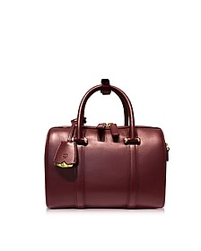 Small Rustic Brown Signature Smooth Leather Boston Bag - MCM