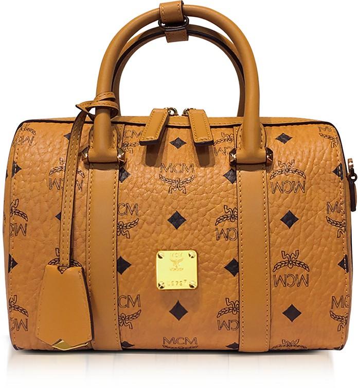 Small Cognac Signature Visetos Original Boston Bag