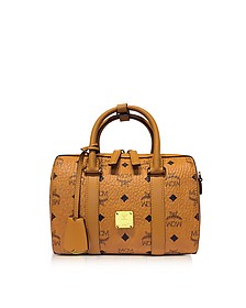 Small Cognac Signature Visetos Original Boston Bag - MCM