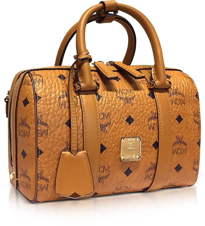 MCM Small Cognac Signature Visetos Original Boston Bag